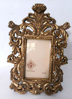 "Vtg Gold Gilt Ornate Picture Frame 4x6"" Baroque Rococo Easel Back Victorian"