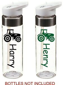 TRACTOR personalised name sticker for school drinks water bottle kids sports