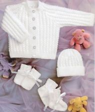Knitting Pattern Baby Cardigan Hat Mittens Bootees 4 Ply Pram Set