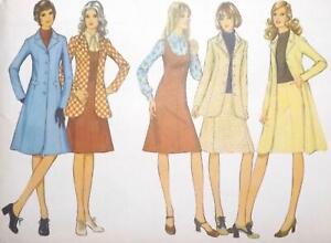 Vintage Style Pattern 3656 1970s Ladies Coat Jacket Pinafore Dress & Skirt B34in