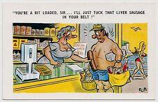 SAUCY POSTCARD - seaside comic, grocery shop, rude liver sausage, Flip #C4757