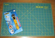 "Olfa cortador rotatorio Rty-1 / g & Cutting Mat rm-ic-c 12 ""x 18 pulgadas Tela Cuero Papel"