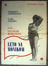 SOMMAREN MED MONIKA-I.BERGMAN/H.ANDERSSON-ORIGINAL YUGOSLAV MOVIE POSTER '60s