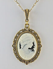 """Victorian Lady with Pearls Cameo 25X18 mm Necklace 18"""" Chain Antiqued Brass"""