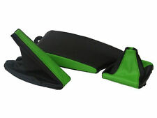 FITS BMW E36 E46 LEATHER ARMREST COVER&GAITERS BLACK L GREEN
