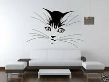 Cat face Wall Art Sticker Vinyl Huge Free Postage pet