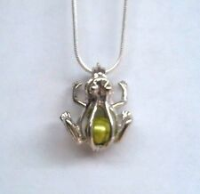 Make a Wish Pearl Cage Pendant Necklace - Frog - 925 Chain+Pearl Included