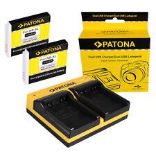 2x Batteria Patona + caricabatteria USB dual per Canon PowerShot D10,D20,D30