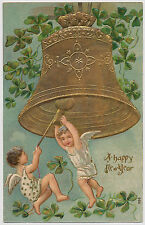 Beautiful Little Angels Ringing  in Happy New Year, Lucky Four Leaf Clover c1910