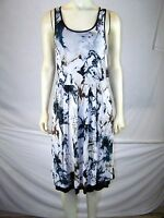 Kensie New Blue Gray Multi Abstract Sleeveless Above Knee Dress Womens Small 4 6