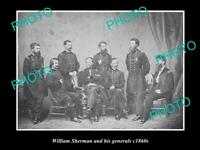 OLD POSTCARD SIZE PHOTO OF W. SHERMAN & HIS GENERALS AMERICAN CIVAL WAR c1860s