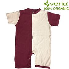 Organic Baby Romper Short Sleeved 12-18 months Burgundy Cream
