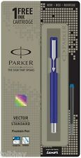 Parker Vector Standard CT Fountain Pen Converter Blue Body Blue Ink 1 Cartridge