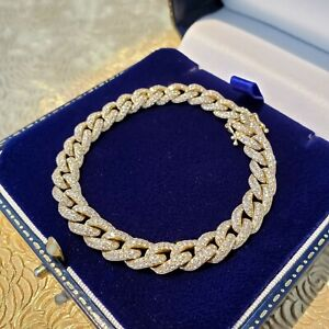 "Exquisite 3.63 Carat Diamond Encrusted 14K Yellow Gold Curb Chain 6.5"" Bracelet"