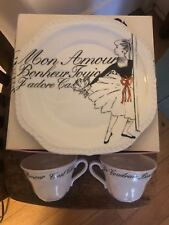 2 Special Tea Cups & A Plate In A Box By Rosanna Les Femmes Tea For Two B & W
