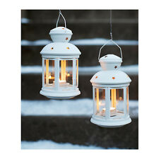 White tealight candle hanging metal table bench outdoor lantern party decoration