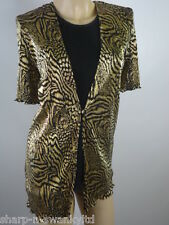 Ladies Black/Gold Print Short Sleeved Layered Top UK 12 EU 40