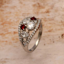 Solid 925 Silver White Red Zircon Gemstone Women Cluster Ring Us-7