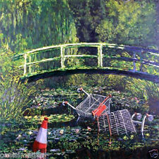 banksy art water lilies pond monet chose a print, t shirt transfer, or sticker