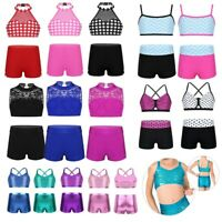 Kids Girls Dancewear Outfit Halter Mesh Crop Top+Shorts Ballet Dance Gym Workout