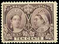 Canada #57 mint F-VF OG NH 1897 Queen Victoria 10c brown violet Diamond Jubilee