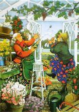 Postcard Art Two Old Ladies Friends Sisters Wine Tasting Inge Look Finland