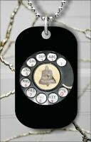 VINTAGE ROTARY TELEPHONE DIAL DOG TAG NECKLACE PENDANT FREE CHAIN -gfd1Z