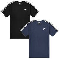Men's Nike Repeat Taped T Shirt Tee Crew Neck Cotton Black Navy AR4915 010/451