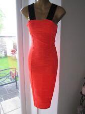 Jane Norman BNWT SIZE 8 6 Neon Orange Low Cut Out Back Top Bodycon Midi Dress