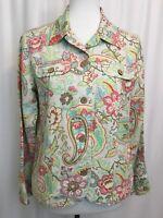 Womens Coldwater Creek Blazer Size S Jacket Floral Pink Blue Roses Linen Blend