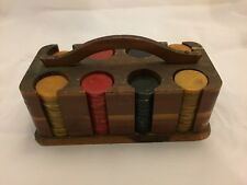 Vintage Bakelite Poker Chip Set Wood Case Butterscotch Red Black Chips