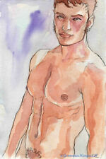 ORIGINAL LARGE MALE NUDE Watercolor - MARCUS - by GERMANIA