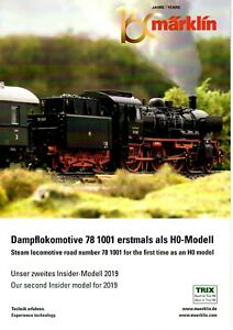 Märklin-Produkt-Faltblatt 42 x 56 cm, Dampflokomotive 78 1001 erstmals in H0