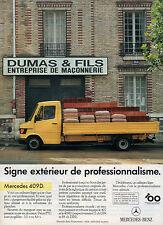 Publicité Advertising 1986  MERCEDES 409 D  Véhicules Utilitaires Camions