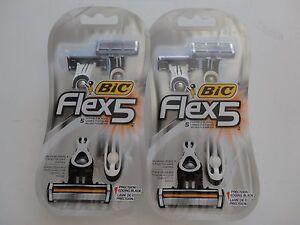 (2) BIC FLEX 5 SHAVER W/ Balancing Sphere & 5 Flexible Blades x 4 Shavers
