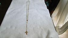 Ancien Chapelet plaqué or et nacre médaille croix religieuse Rosary French Cross