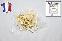 Lot de 100 cosses 2,8 mm électrique  en laiton brut à sertir femelle plate