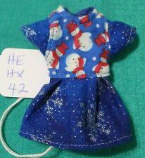 Blue Sparkle Christmas Dress w Snowmen for Kelly & Chelsea Barbie Dolls  KEHX42