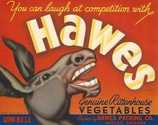 "RARE OLD ORIGINAL 1940'S DONKEY ""HAWES BRAND"" VEGETABLE BOX LABEL HIGLEY ARIZONA"