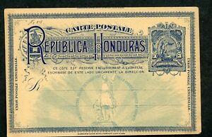 HONDURAS UPU 1892 HG 14 MINT 3C POSTAL CARD DEEP BLUE COLUMBUS AS SHOWN