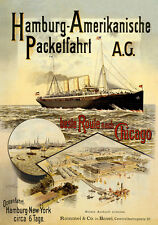 Hamburgo americana Packetfahrt AG New York chicago barco mercante carteles a2 280