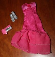 BARBIE DOLL FESHIA PINK EVENING DRESS WITH SHOES AND CLUTCH