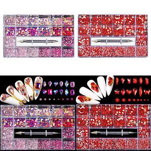 21 Grids Nail Art Rhinestones Crystal Flat Back Gems Nail Art Accessories