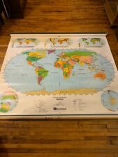 1970's 2 Page Pull Down School Map Retractable World/United States Nystrom