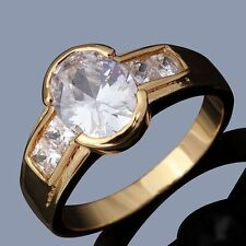 NEW MEN'S 18KT YELLOW GOLD FILLED BRILLIANT WHITE LAB DIAMOND RING SIZE 11