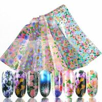 16pcs Flower Nail Foils DIY Nail Art Transfer Sticker Holographic Starry Paper