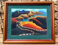 RARE Chinese Sand Painting Cloisonné Art~The Great Wall Of China~Sand Art~