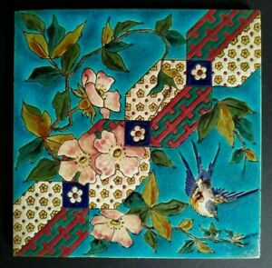 "Beautiful Longwy Ceramic Tile Bird Floral Art Nouveau Jugendstil  8 x 8"""