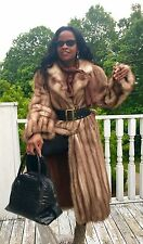 Mint Full length designer Stone Marten Sable Fur coat Jacket S-M + free Scarf