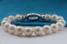 """Round Pearl Bracelet zircon #f2293! 8"""" Genuine Natural 12mm White"""